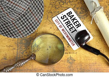 Sherlock Holmes Deerstalker Cap And Other Objects On Old Map...