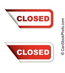 red vector paper sticker closed (two variant) - This is red...
