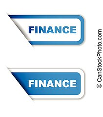 blue vector paper sticker finance (two variant)