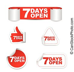 red set vector paper stickers 7 days open - This is red set...
