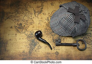 Deerstalker Sherlock Hat, Vintage Key, Smoking Pipe On Old...