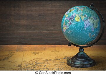 World Globe On The Old Map
