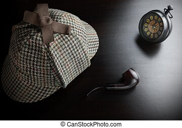 Sherlock Deerstalker Hat, Clock And Smoking Pipe In The Dark...