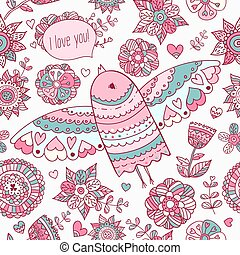 Floral pattern with bird Valentine and 39;s background with...