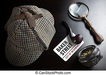 Sherlock Deerstalker Hat,  Clock, Magnifier And Smoking Pipe In Dark