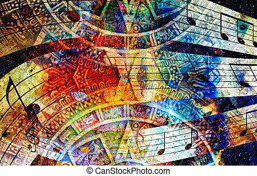 Ancient Mayan Calendar and Music note, Cosmic space with...