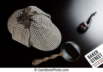 Sherlock Deerstalker Hat, Clock, Magnifier And Smoking Pipe...