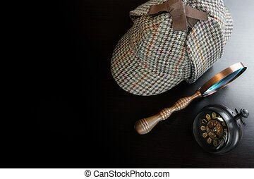 Sherlock Deerstalker Hat, Vintage Clock And Magnifier On...