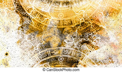 Ancient Mayan Calendar and  Cosmic space with stars.