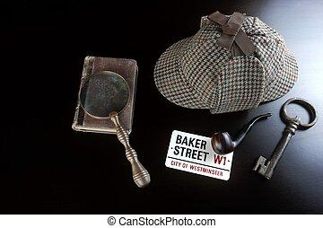 Sherlock Deerstalker Hat,  Pipe, Key And Magnifier On Black Table