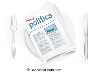 news politics tablewares - Political newspaper on a plate on...