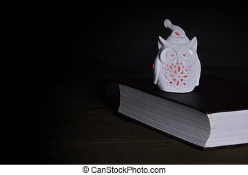 White Owl Statuette Nightlight With Red Lights On Old Book -...
