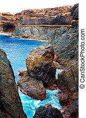Ajuy Caleta Negra beach in Fuerteventura at Canary Islands...