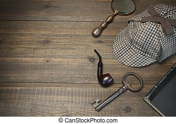 Sherlock Holmes Concept. Private Detective Tools On The Wood...