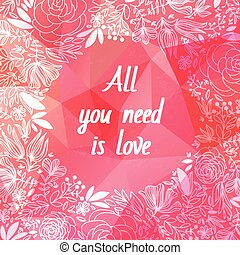 Pink origami background.Love symbol.Low-poly colorful style....