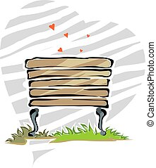 park bench	 - Illustration of park bench in background