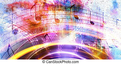 Illustration of grunge retro musical background with notes.