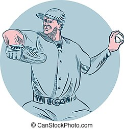 Baseball Pitcher Throwing Ball Circle Drawing - Drawing...