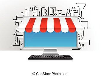 online shop - illustration of blank monitor for online...