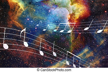 music note and Space and stars with abstrtact color...