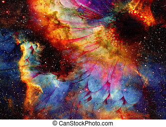 Space and stars with flower, color galaxi background,...