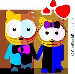 married cats - Illustration of cartoon married cats