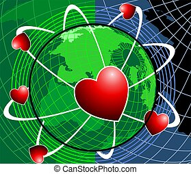 love symbol rotating around earth - Illustration of a love...