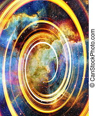 Nebula, Cosmic space and stars with light circle, color...