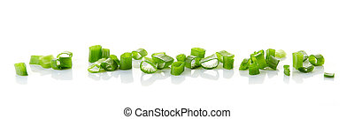 chopped spring onions isolated on white background