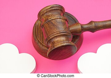 legalities Of Divorce Concept Judges Gavel And Two Hearts...