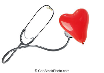 stethoscope with a red heart balloon