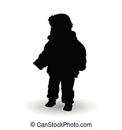 child standing illustration silhouette