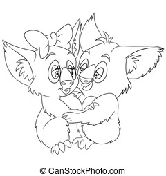 lindo, caricatura,  Koalas