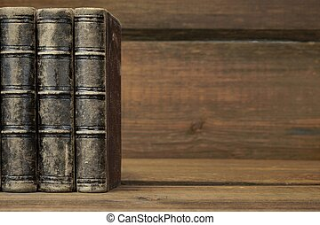 Three Old Shabby Books With Black Leather Cover Horizontal...