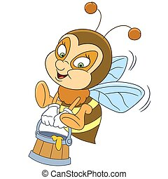 happy cartoon bee with honey - cute and happy cartoon bee...