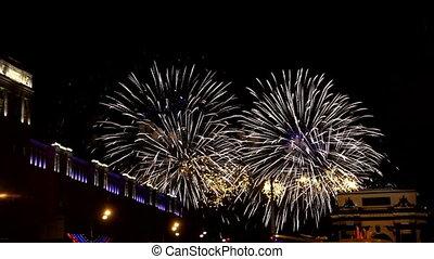 Fireworks near triumphal arch.