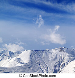 View on off-piste snowy slope. Caucasus Mountains, Georgia,...