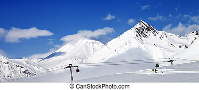 Panoramic view of ski resort at nice sun day Caucasus...