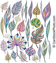 Set of colorful abstract leaves Vector - Set of colorful...