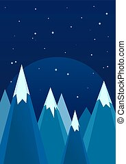 Snowy Mountains In Winter Night Landscape - Snowy mountains...