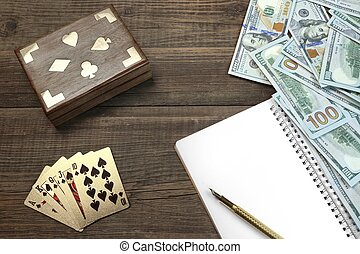 Two Unopened Playing Cards Deck, Money And Notepad On Table...