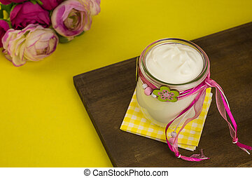 greek yogurt in a glass jar
