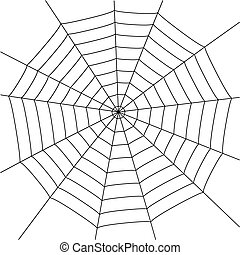 spider web - illustration with spider web isolated on white...