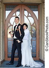wedding copule. Beautiful bride and groom. Just merried....