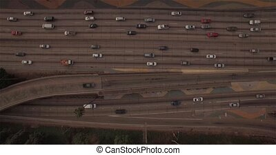 Top Static Traffic View - Aerial view looking below with...