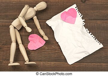 Wood Humane Figurine, Torn Paper Page And Broken Hearts -...