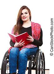 Woman invalid girl on wheelchair reading - Real people,...