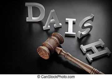 White Sign DAISH And Judges Gavel On The Black Background -...