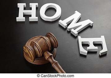 Judges Gavel And White Sign Home On Black Wood Background. -...