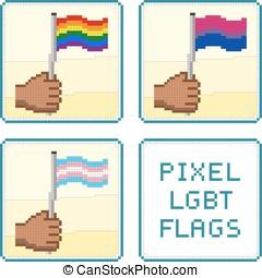 pixelized, mains, tenue, LGBT, Drapeaux, vecteur,